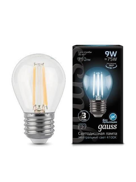 Лампочка Gauss LED Filament Globe E27 9W 4100K 105802209