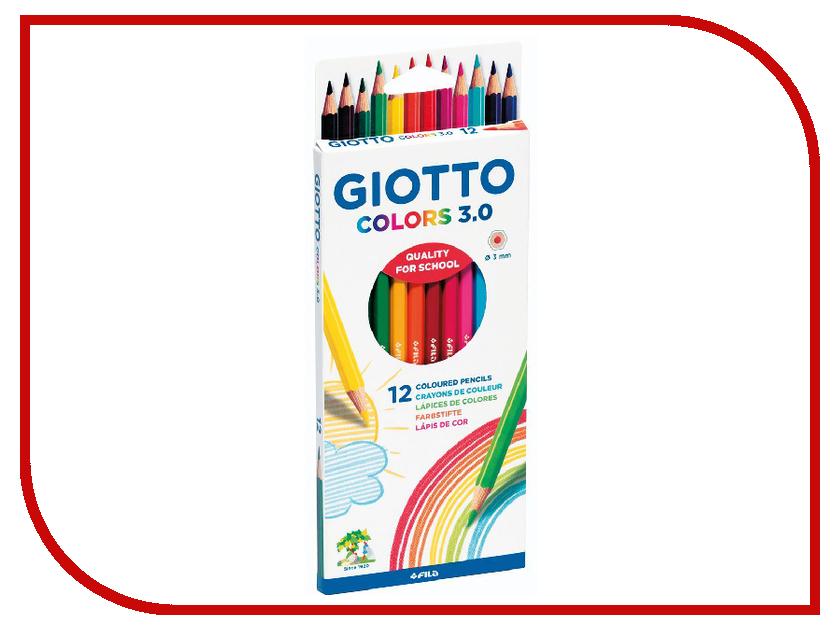 Цветные акварельные карандаши Giotto Colors 3.0 12шт 277100 карандаши восковые мелки пастель giotto mega цветные гексагональной формы утолщенные 12 шт