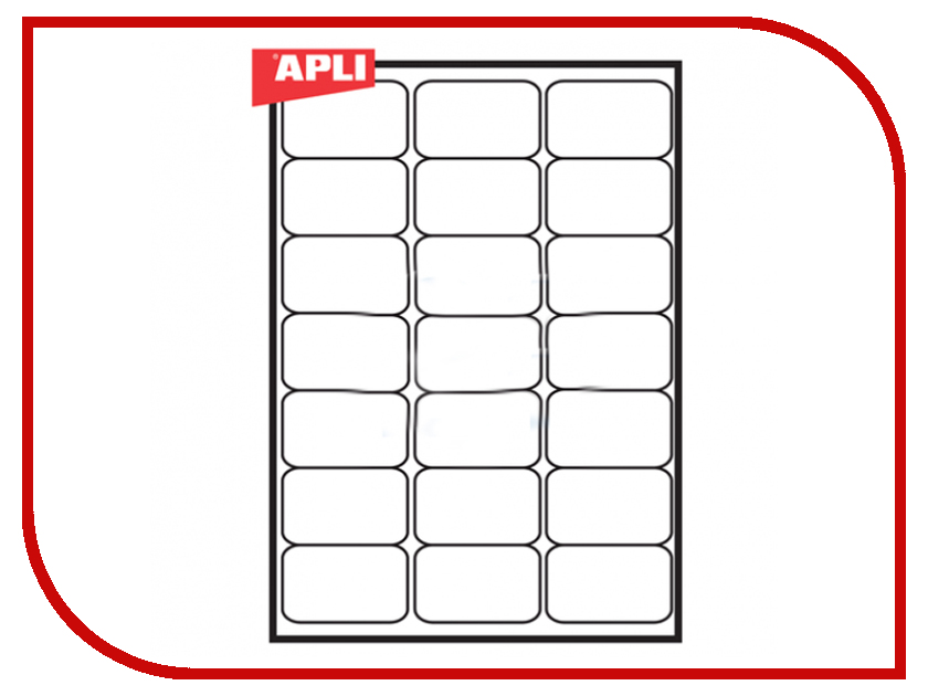 Бумага APLI A4 100 листов Самоклеящаяся 21 этикетка White 02414
