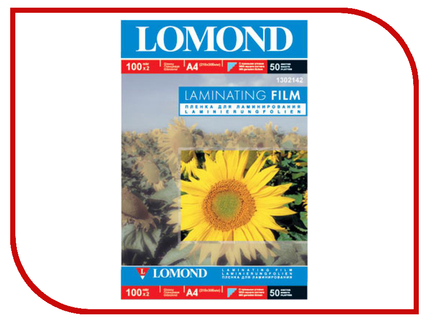 Пленка для ламинирования Lomond А4 100 мкм 100шт Глянцевая 1302142 пленка для принтера lomond 1205012