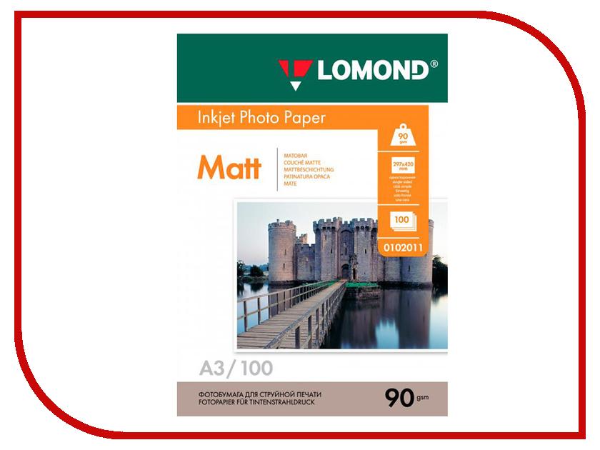 Фото Фотобумага Lomond А3 90g/m2 матовая односторонняя 100 листов 0102011