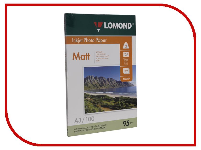 Фотобумага Lomond А3 95g/m2 матовая односторонняя 100 листов 0102129 lomond 0102129