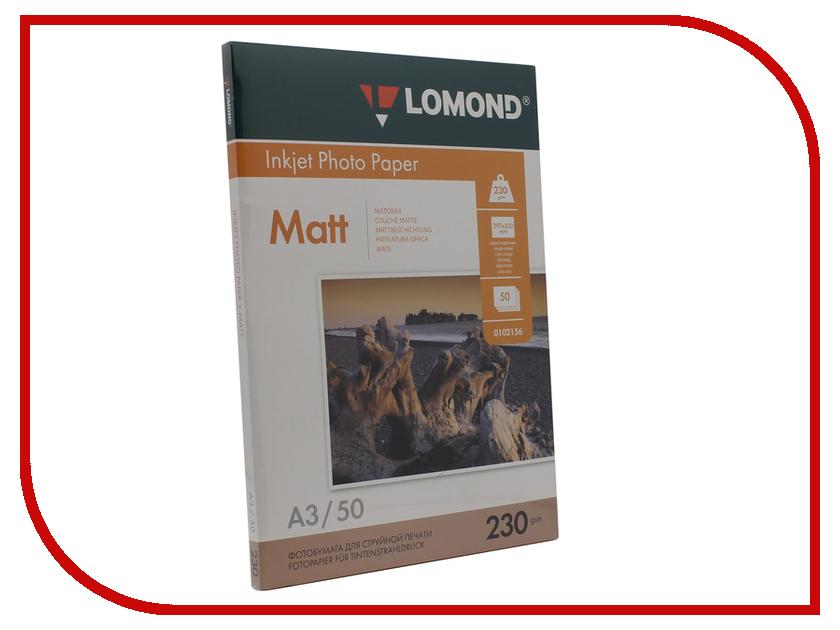 Фотобумага Lomond А3 230g/m2 матовая односторонняя 50 листов 0102156 фотобумага lomond a6 230g m2 матовая односторонняя 250 листов 0102157