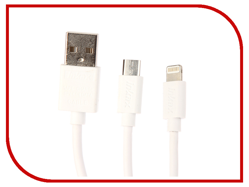 Аксессуар Inkax кабель 2в1 microUSB/iPhone 5/6/7 для Apple iPhone 5/6/7 CK-37 White аксессуар luazon iphone 4 5 3 in 1 microusb 155884