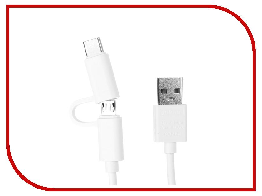 Аксессуар Inkax 2в1 USB microUSB/type-c CK-35 White зарядное устройство inkax type c cd 12 type c white