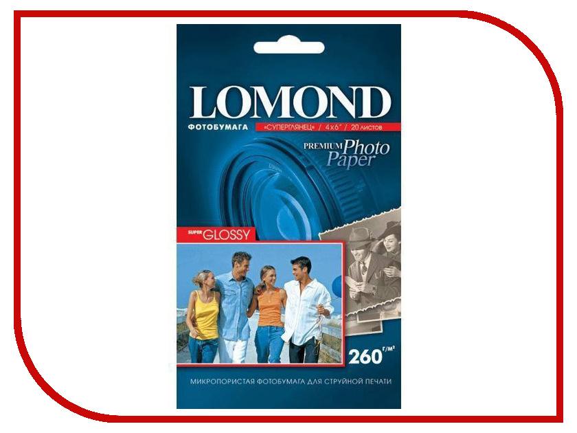 Фотобумага Lomond A6 260g/m2 Super Glossy односторонняя 4x6cm 20 листов 1103131