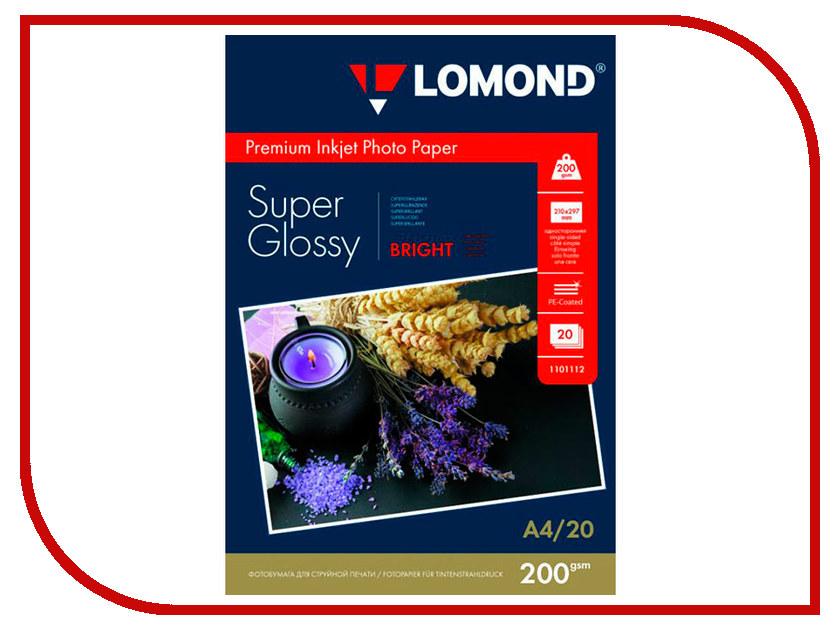 Фотобумага Lomond 1101112 Bright Super Glossyc A4 200g/m2 односторонняя 20 листов