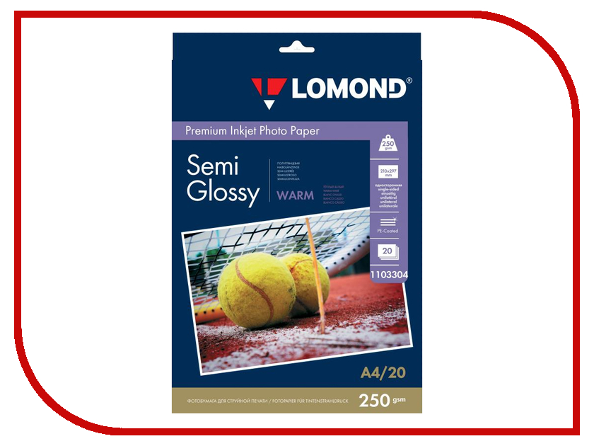 Фотобумага Lomond A4 250g/m2 Warm Semi Glossy односторонняя 20 листов 1103304