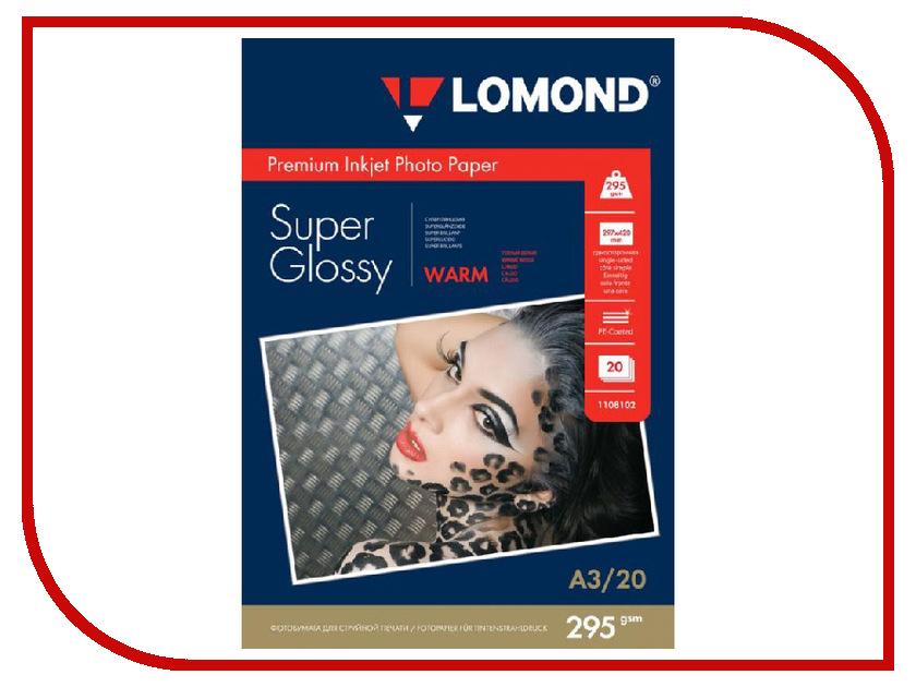 Фотобумага Lomond A3 295g/m2 Warm Super Glossy односторонняя 20 листов 1108102 фотобумага lomond 1106100 глянцевая 270g m2 a4 super glossy односторонняя 20 листов