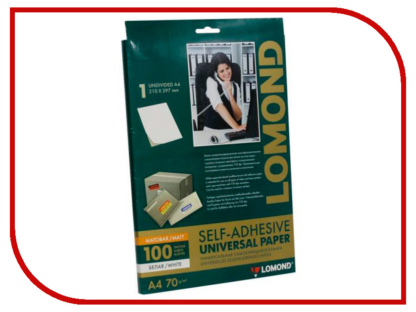 Фотобумага Lomond A4 70g/m2 Self Adhesive универсальная самоклеящаяся 100 листов 2100001 фотобумага lomond 0808431 140g m2 a4 термотрансферная флюорисцентная 10 листов