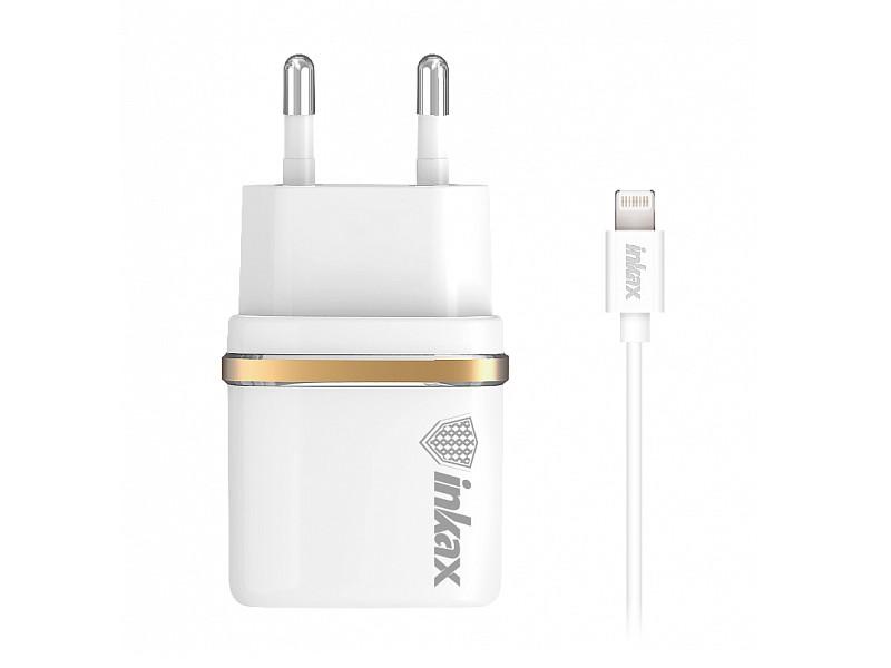 Зарядное устройство Inkax СЗУ 2в1 8pin для iPhone 5/6/7 CD-11-IP White цена
