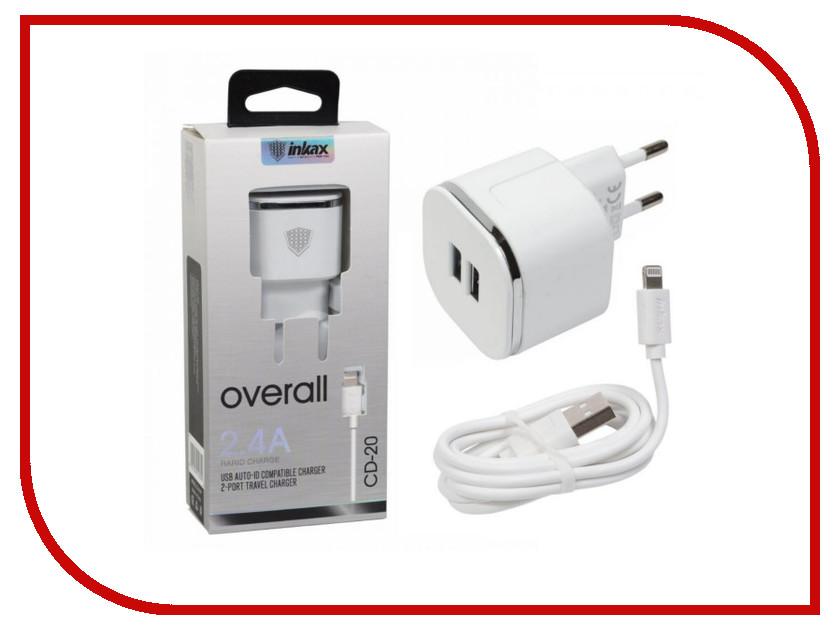 Зарядное устройство Inkax СЗУ 2в1 8pin для iPhone 5/6/7 CD-20-IP White цифровое ip атс cisco7965g