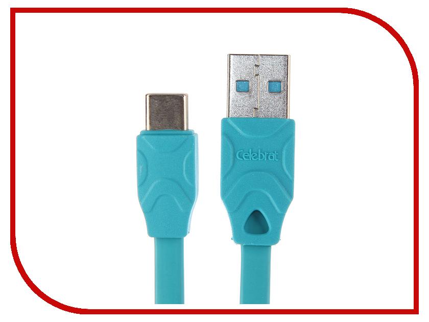 Аксессуар Celebrat USB - Type-C CB-02T Blue celebrat c8 silver