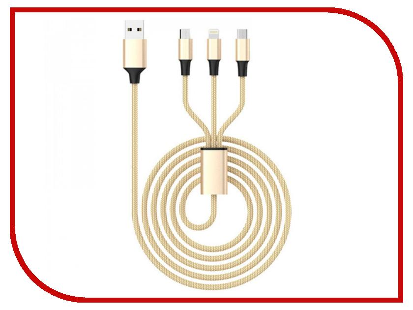 Аксессуар Celebrat USB - microUSB/type-c/ Lightning 8pin CB-04 Gold аксессуар yoobao usb type c microusb lightning yb 453 gold