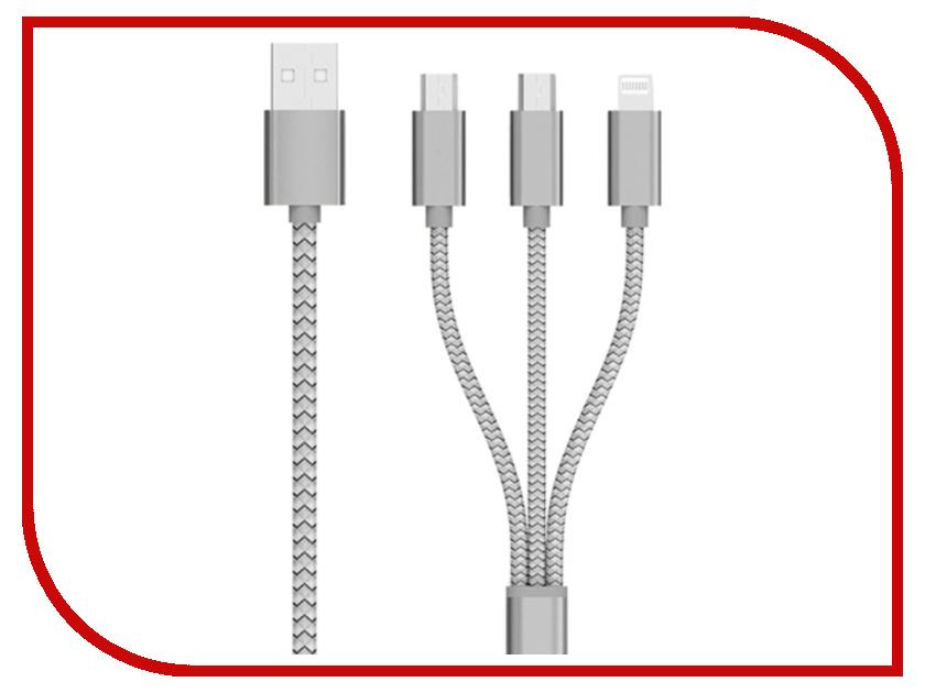 Аксессуар Celebrat USB - microUSB/type-c/ Lightning 8pin CB-04 Silver аксессуар yoobao usb type c microusb lightning yb 453 gold