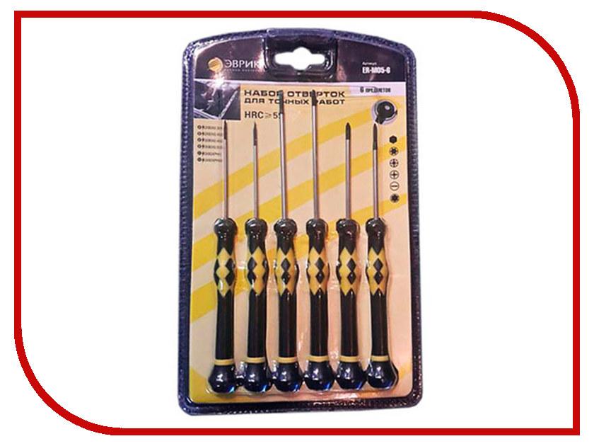 Отвертка Эврика ER-M05-6 Набор 6 предметов ключ эврика er 50120e pro