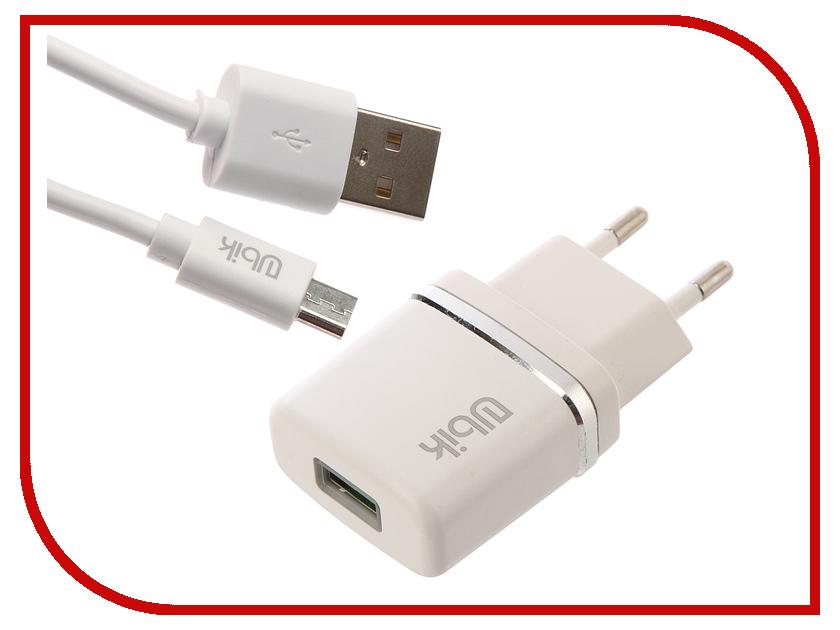 Зарядное устройство Ubik UHP11M 1xUSB 1A Кабель microUSB White