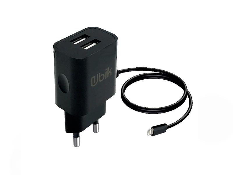 Зарядное устройство Ubik UHS22L 2xUSB 2.1A Кабель Lightning Black зарядное устройство budi m8j056e 2xusb 2 4a lightning
