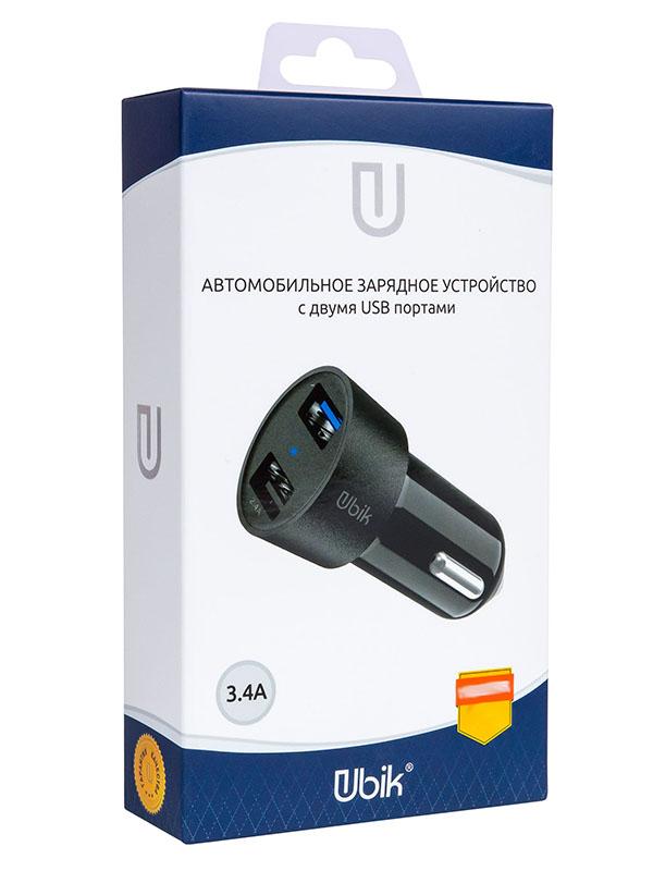 Зарядное устройство Ubik UCP23 2xUSB 3.4A Black зарядное