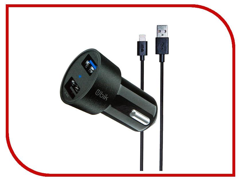 Зарядное устройство Ubik UCP23L 2xUSB 3.4A Кабель Lightning Black зарядное устройство dotfes c04 1a кабель lightning black