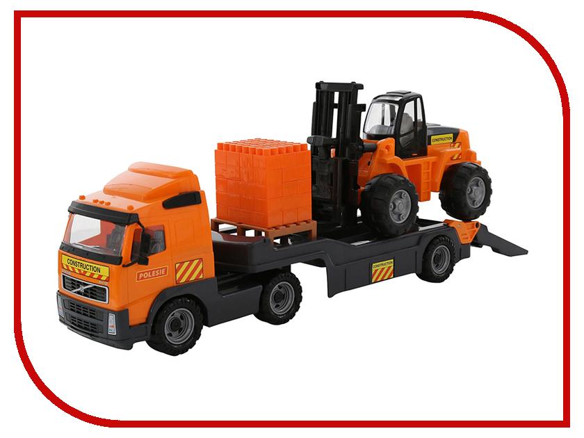 Машина Полесье Volvo Автомобиль-трейлер + автокар + конструктор Супер-Микс 30 дет. 58409 машина детская полесье полесье набор автомобиль трейлер трактор погрузчик