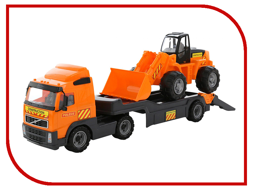 Машина Полесье Трейлер Volvo и трактор-погрузчик (58423) машина детская полесье полесье набор автомобиль трейлер трактор погрузчик