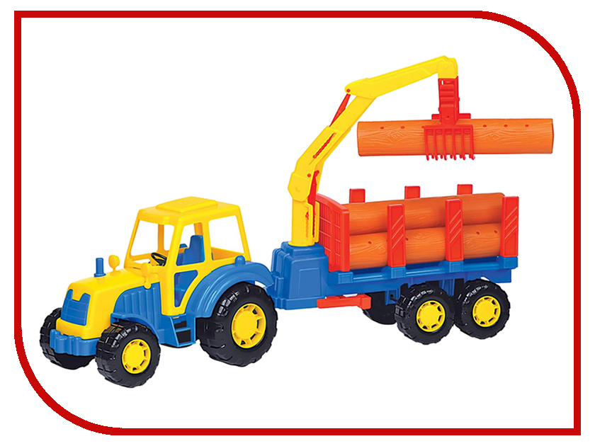 Машина Полесье Алтай Трактор с полуприцепом-лесовозом 35370 машина детская полесье полесье набор автомобиль трейлер трактор погрузчик