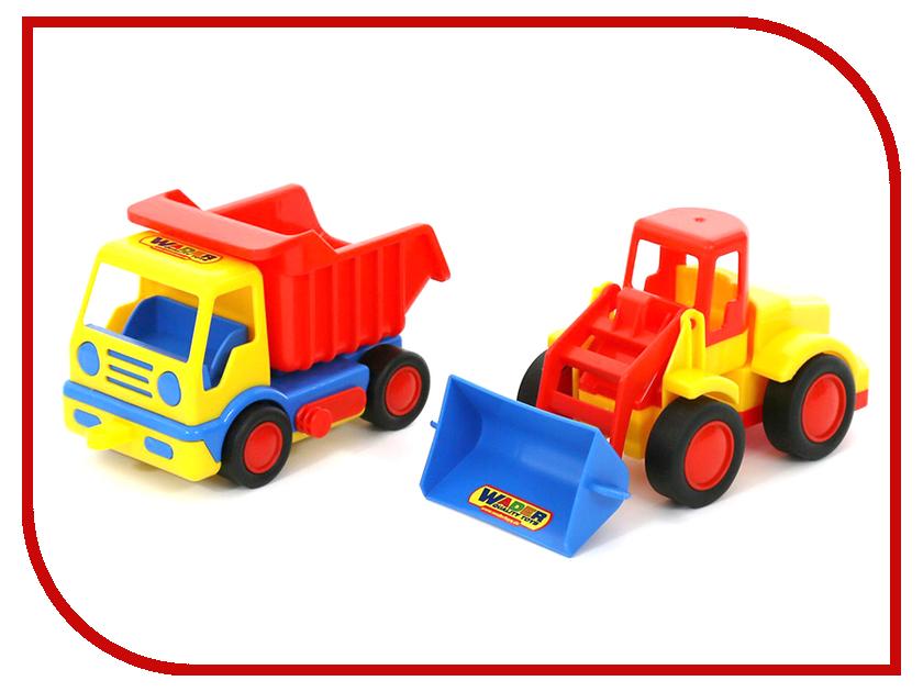 Машина Полесье Базик самосвал + погрузчик 42101 машина детская полесье полесье набор автомобиль трейлер трактор погрузчик