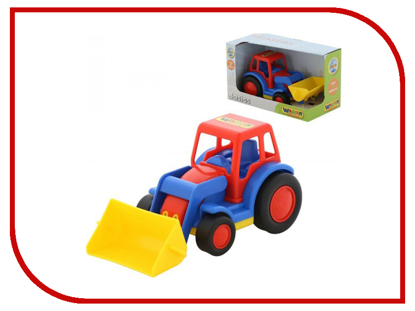 Машина Полесье Базик трактор-погрузчик 37626 машина детская полесье полесье набор автомобиль трейлер трактор погрузчик
