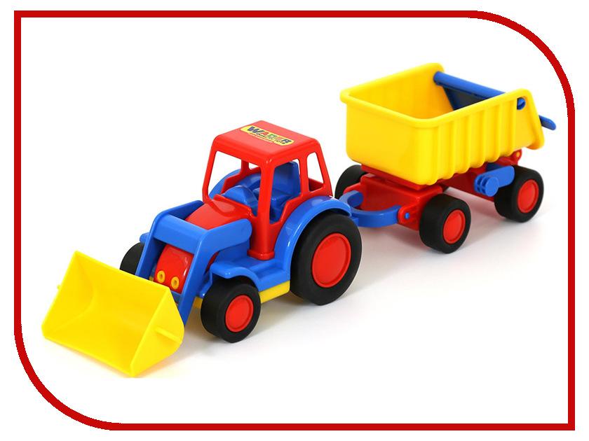 Машина Полесье Базик трактор-погрузчик с прицепом 37657 машина детская полесье полесье набор автомобиль трейлер трактор погрузчик