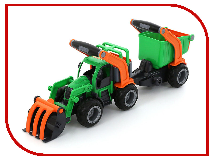 Машина Полесье ГрипТрак трактор-погрузчик с полуприцепом 48431 машина детская полесье полесье набор автомобиль трейлер трактор погрузчик