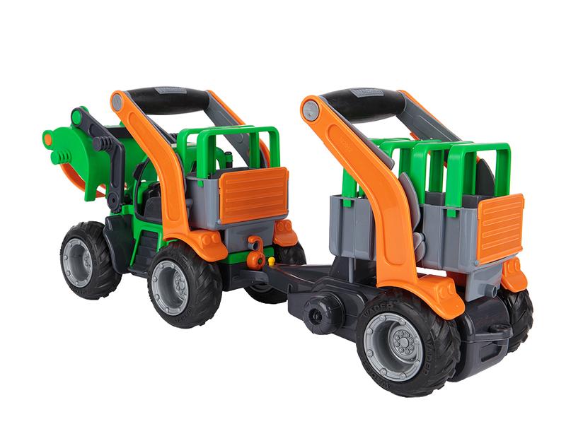 Игрушка Полесье ГрипТрак трактор-погрузчик с полуприцепом для животных 37398 цена