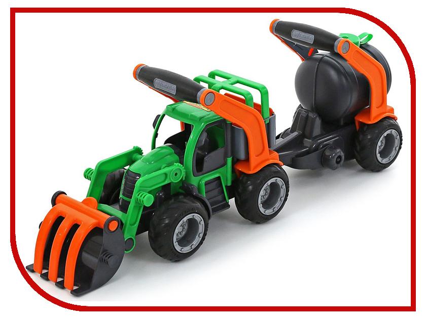 Машина Полесье ГрипТрак трактор-погрузчик с цистерной 37404 машина детская полесье полесье набор автомобиль трейлер трактор погрузчик