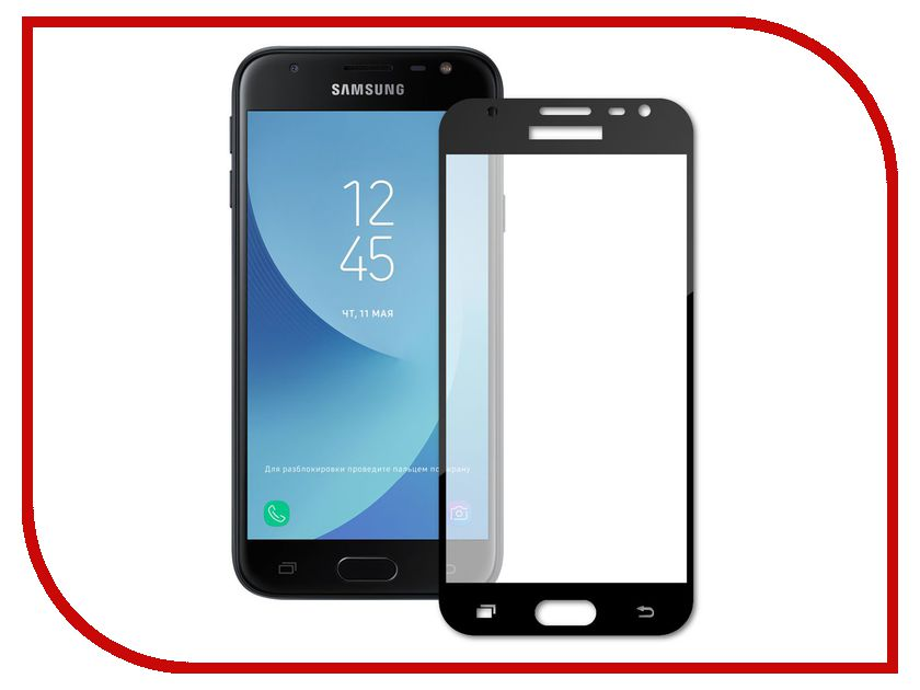 Аксессуар Защитное стекло Samsung Galaxy J3 2017 LuxCase 3D Black Frame 77357 аксессуар защитное стекло highscreen fest xl pro luxcase 0 33mm 82179