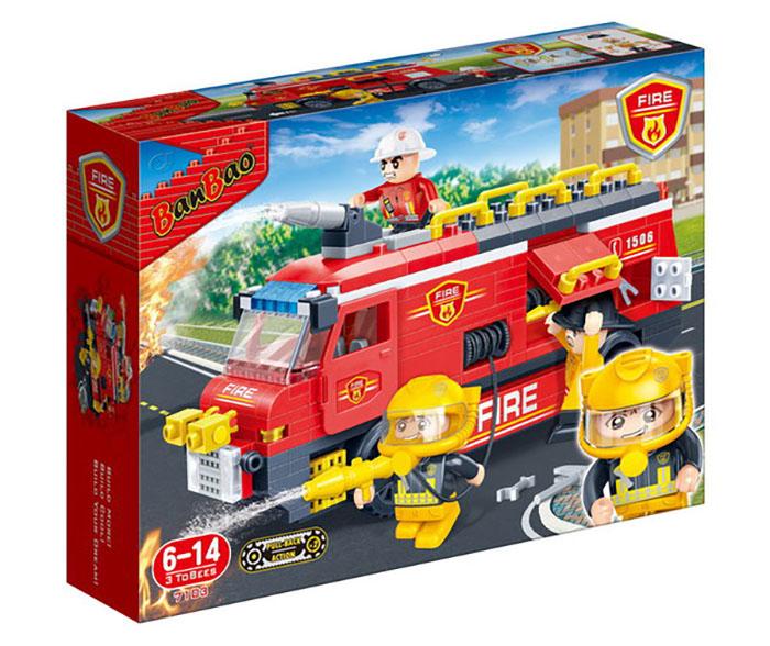 Конструктор Banbao Пожарная машина 288 дет. 7103 / 293999 конструктор loz человечек зимний 520 дет lz9610