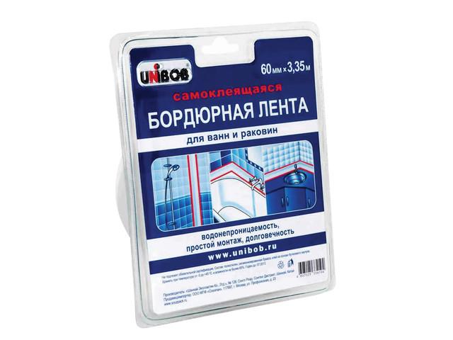 Клейкая лента бордюрная для ванн и раковин Unibob 60mm х 3.35m White 35545