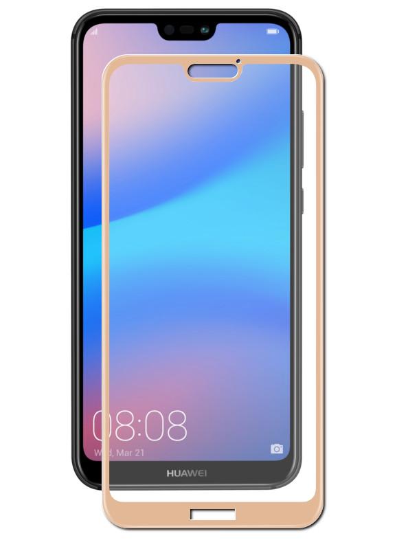Закаленное стекло DF для Huawei P20 Lite Fullscreen hwColor-40 Gold Frame
