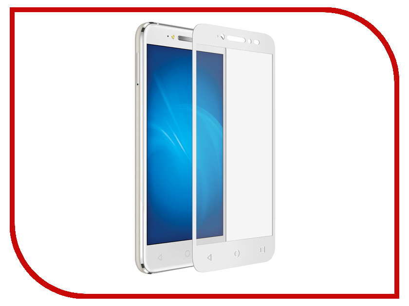 Аксессуар Закаленное стекло Alcatel Shine Lite DF Fullscreen alColor-01 White Frame