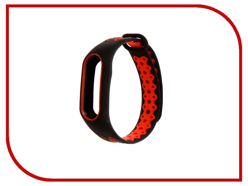 Aксессуар Ремешок Activ for Xiaomi Mi Band 2 Sport N Silicone Black-Red 83779 stylish aluminum alloy protective bumper frame set for iphone 4 4s black red