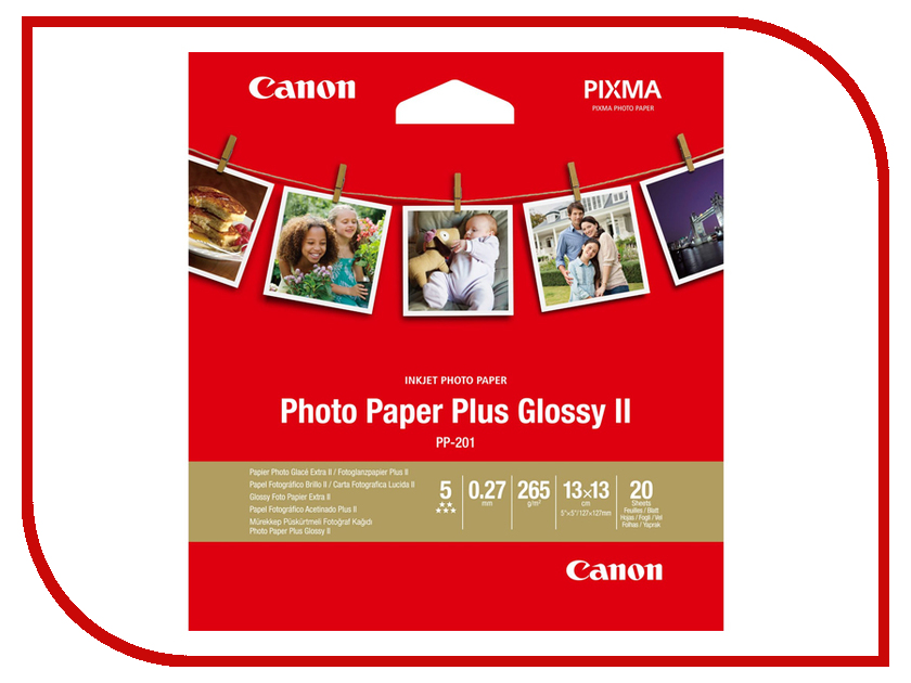 Фотобумага Canon PP-201 Photo Paper Plus Glossy II 260g/m2 20 листов 2311b060 hp zink sticky backed photo paper 5x7 6 cm 20 листов
