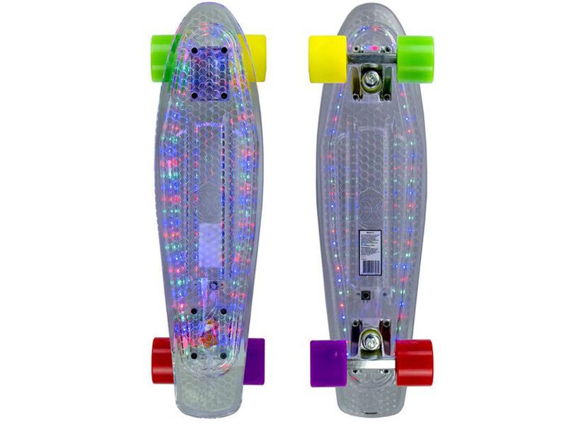 Скейт Maxcity MC Plastic Board LED Small hot sales mini cruiser board plastic skateboard 22 x 6 retro longboard skate long board floral graphic printed 8 color