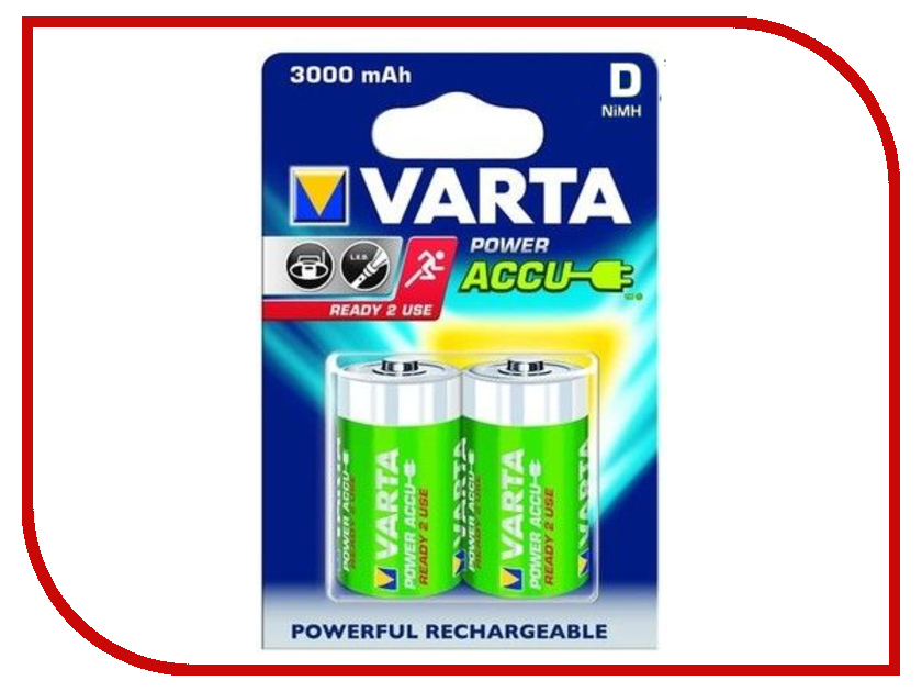 Аккумулятор D - Varta 3000mAh Power Accu (2 штуки) 56720<br>