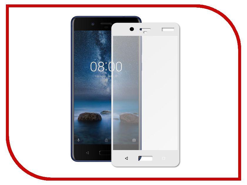 Аксессуар Защитное стекло Nokia 8 Media Gadget 2.5D Full Cover Glass White Frame MGFCNK8WT