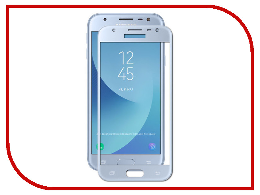 Аксессуар Защитное стекло Samsung J3 2017 Media Gadget 2.5D Full Cover Glass Blue Frame MGFCSGJ317BL аксессуар защитное стекло samsung galaxy a3 2017 solomon full cover black