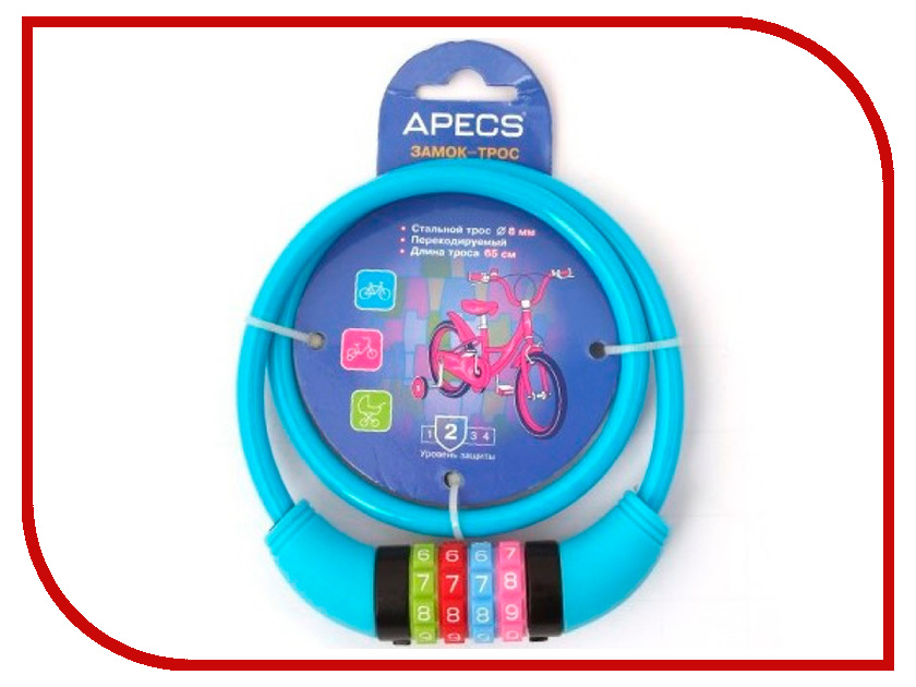 Замок Apecs PD-85-65CM-CODE-BLUE висячий замок apecs pd 44 75 blister 00001970