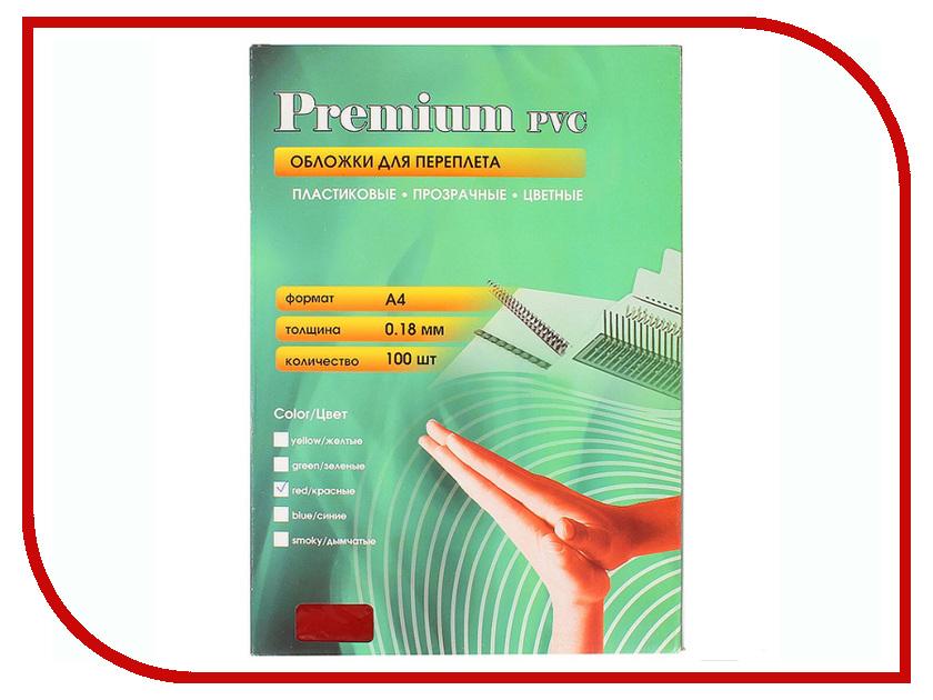 Обложки для переплета Office Kit 100шт пластик Transparent-Red PRA400180