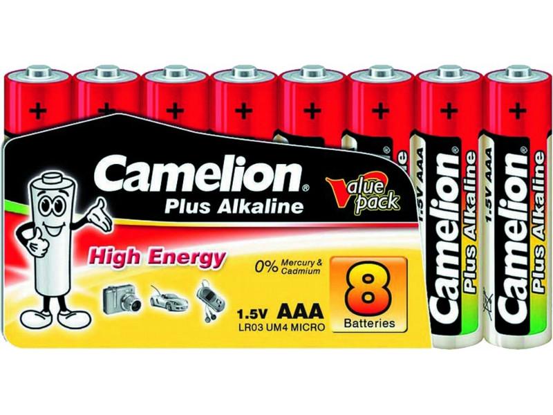 Батарейка AAA - Camelion Alkaline Plus LR03 LR03-SP-8 (8 штук)