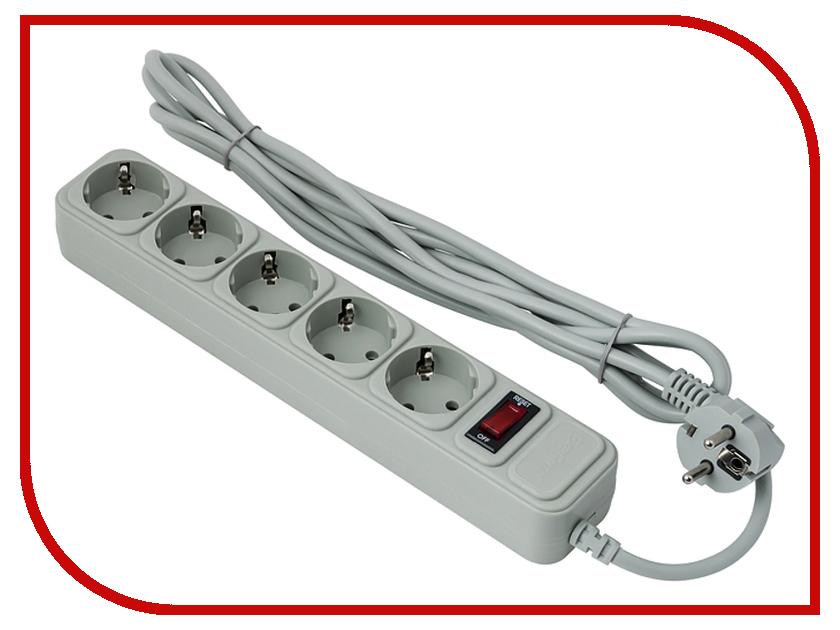Сетевой фильтр ExeGate 5 Sockets 1.5m SP-5-1.5G Light Grey 266862 сетевой фильтр exegate sp 3 3g 3 sockets 3m grey 221180