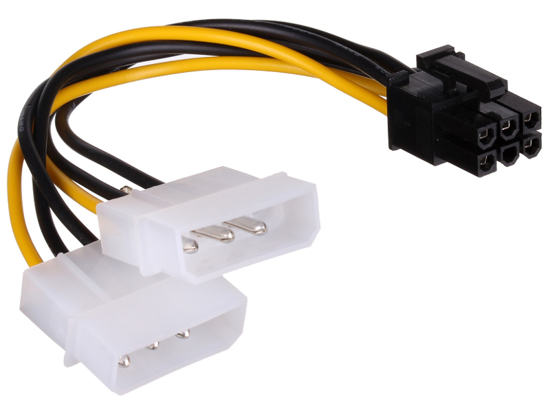 Аксессуар Переходник ExeGate PCI-Express 6pin - 2xMolex 15cm 138937