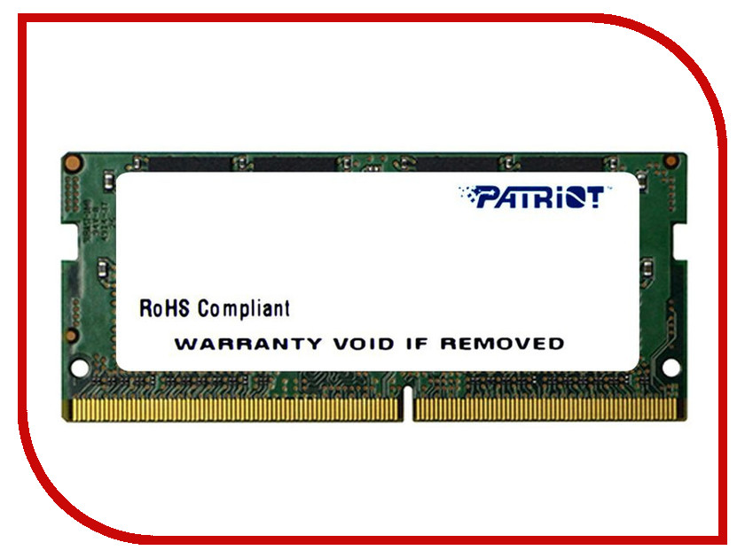 Модуль памяти Patriot Memory DDR4 SO-DIMM 2400MHz PC4-19200 CL17 - 16Gb PSD416G24002S patriot memory psd48g21332